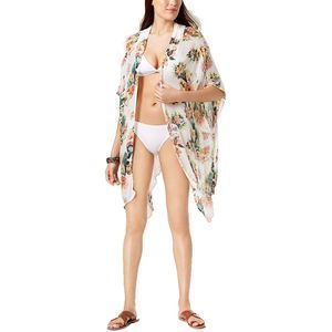4/$25 INC Tropical Crochet Kimono & Cover-Up White